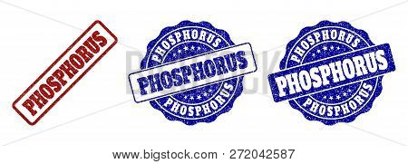 Phosphorus Grunge Stamp Seals In Red And Blue Colors. Vector Phosphorus Signs With Dirty Surface. Gr