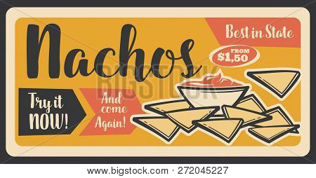 Nachos Mexican Snack Retro Banner For Fast Food Restaurant Or Cafe. Crispy Corn Chip And Chili Peppe