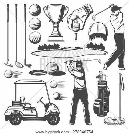 Golf Sport Monochrome Vector Icons Of Sporting Items And Player. Man With Club, Ball And Cart, Game