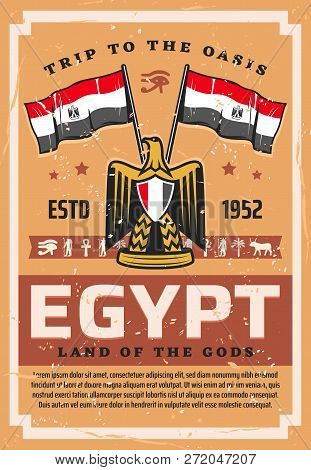 Egypt Travel, Flag And Emblem, Coat Of Arms With Hawk Or Eagle. Vector Egyptian Country Symbols, Tou