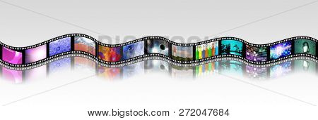Film strip of surreal and abstract footage. 3D rendering