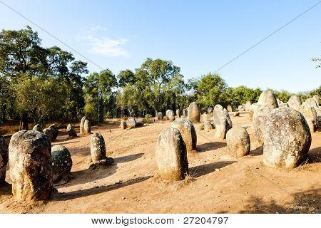Cromlech of Almendres near Evora, Alentejo, Portugal