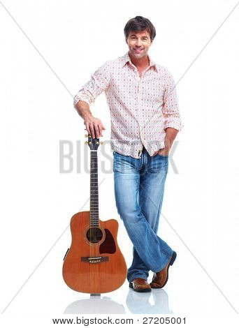 Young happy man with guitar. Isolated over white background.