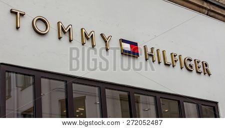 Copenhagen, Denmark - June 13, 2018: Detail Of Tommy Hilfiger Store In Copenhagen, Denmark. It Is A
