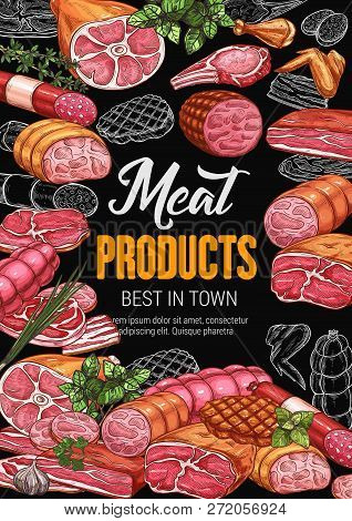 Butchery Shop Poster With Meat Products. Sausage And Bacon, Gammon And Steak, Beef And Ham, Pork And