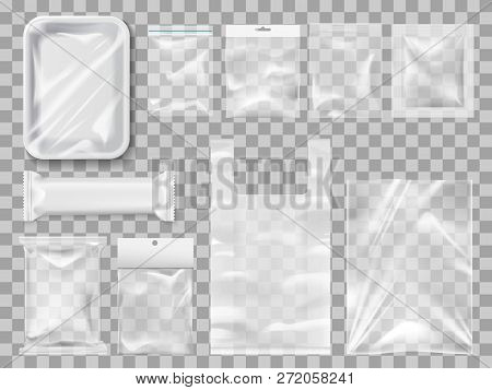 Empty Packs, Plastic Package And Vacuum Containers Mockups For Food. Transparent Disposable Clean Pa