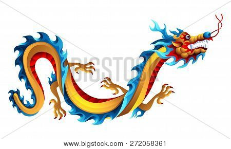 Illustration Of Chinese Dragon. Mascot Or Tattoo. Traditional China Symbol. Asian Mythological Color