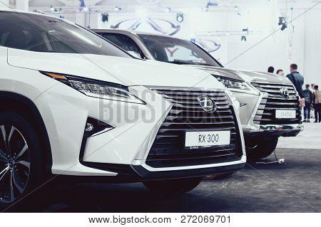 Kropivnitskiy, Ukraine  – 27 September, 2018: Lexus New Car At Motor Show, Automobile Salon. Lexus R