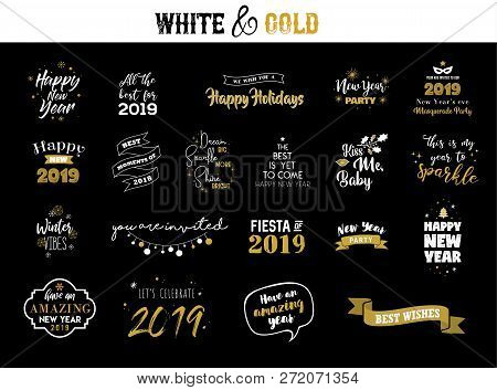 Happy New Year 2019 Typographic Emblems Set. Vector Logo, Text Design. Black, White And Gold. Usable