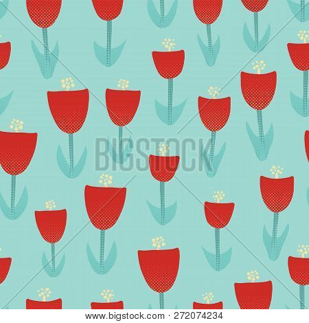 Floral Retro Seamless Vector Pattern. Abstract Red Tulip Background. Retro Spring Pattern With Geome