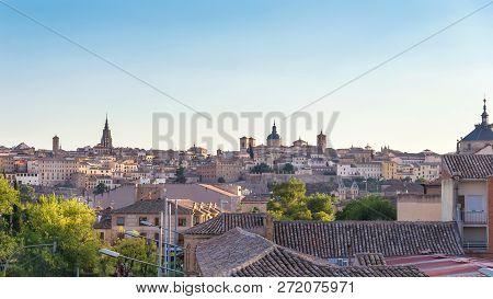 Ancient Spanish City Toledo In Sunrise Light (panorama View)