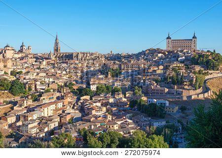 Ancient Spanish City Toledo In Sunrise Light