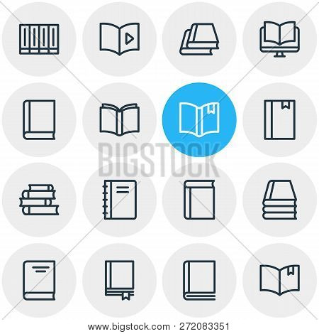 Vector Illustration Of 16 Book Icons Line Style. Editable Set Of Ebook, Publication, Textbook And Ot