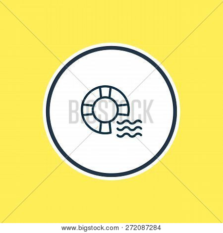 Illustration Of Lifebuoy Icon Line. Beautiful Sea Element Also Can Be Used As Lifeguard Icon Element