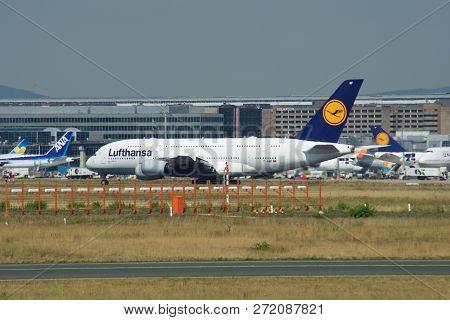 Frankfurt, Germany - Jun 09th, 2017: Lufthansa Airbus A380 Msn 66 - D-aimf Aircraft Taxiing On The A