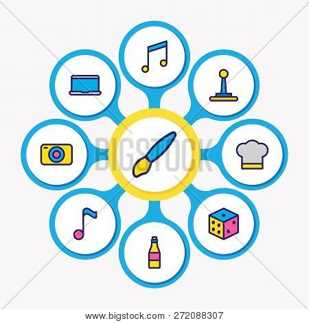 Vector Illustration Of 9 Joy Icons Colored Line. Editable Set Of Quaver, Brush, Joystick And Other I