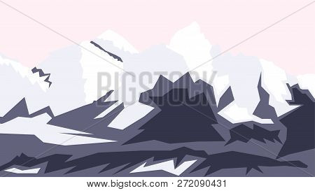 Vector Drawing Of Mount Everest, Hill Tops, Nepal