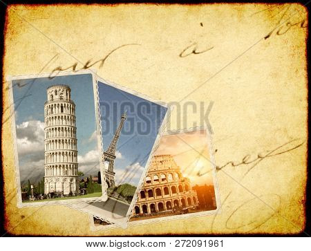 Vintage travel background with retro photos of european landmarks. Eiffel tower in Paris, Leaning Tower of Pisa, Colosseum in Rome. Old paper texture with postcards. Copy space for text