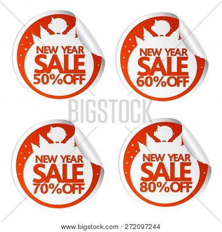 New Year Sale Stickers 50,60,70,80 With Pig.vector Illustration