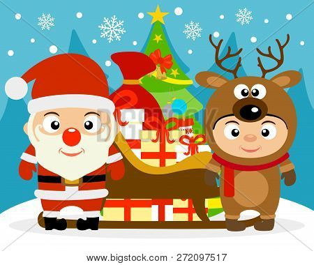 New Year Vector Illustration With Kids In Costume Santa And Deer.vector Illustration