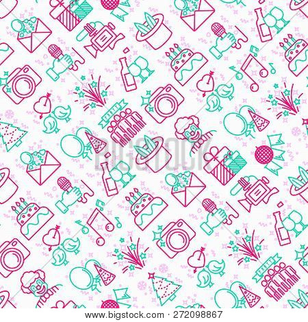 Event Services Seamless Pattern With Thin Line Icons: Kids Party, Gifts, Birthday, Magician, Clown,