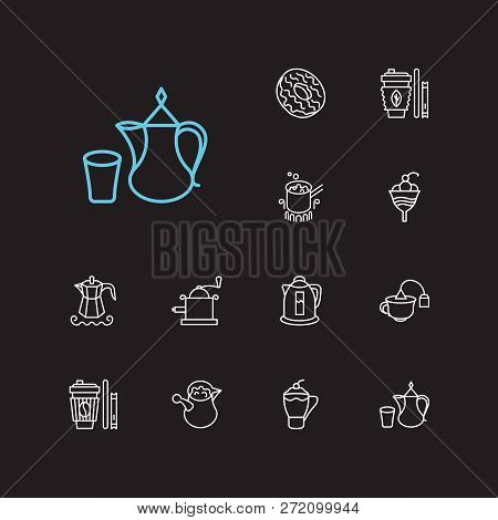 Tea Icons Set. Stovetop Espresso And Tea Icons With Takeaway Tea, Cafe Macchiato And Tea Bag Cup. Se