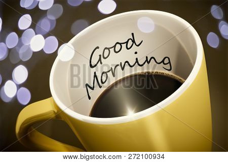 A yellow cup of coffee with surprise text Good Morning 3d illustration