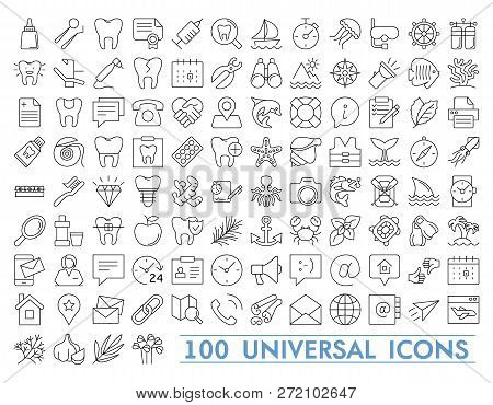 Set Of 100 Minimal Thin Line And Solid Icons Multimedia Business Ecology Education Fitness Medical F