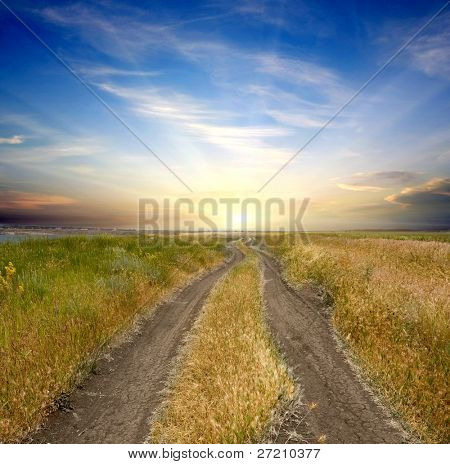 rural road to sunset across field