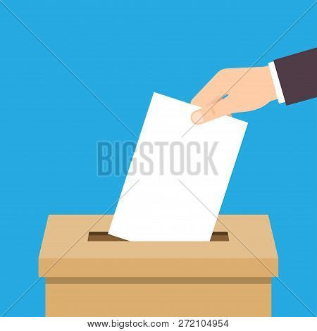Vote. Hand Putting Voting Paper In Ballot Box. Voting Concept. Vector Illustration