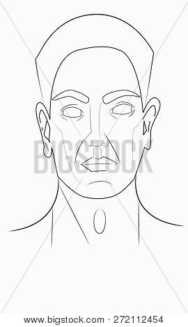 Animation Portrait Of A Serious Man With A Short Haircut. Black And White Hand Drawing.brush Templat