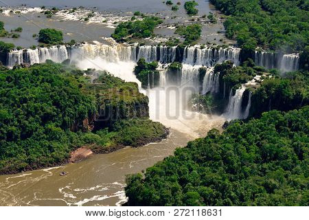 Aerial View Of Iguazu Falls, One Of The New 7 Wonders Of Nature, In Brazil And Argentina