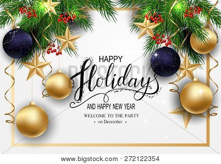 Holidays Greeting Card For Winter Happy Holidays. Fir-tree Branches Frame With Lantern With Stars, 3