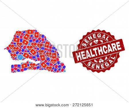 Healthcare combination of bright medical mosaic map of Senegal and rubber seal stamp. Vector red seal with distress rubber texture and Healthcare caption. poster