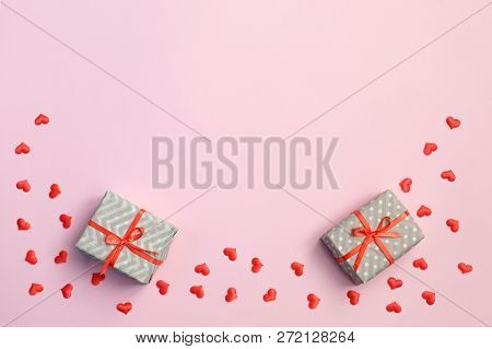 Valentine Day Background. Gift Box, Red Hearts And Valentine Day Card With Copy Space On Pink Backgr