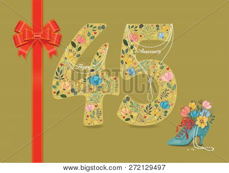 Yellow Number Forty Five With Folk Floral Decor. Pearl Collar With Texts As Pendants - Happy Anniver