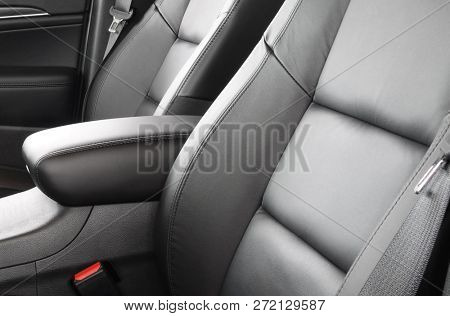 Car seats leather bucket type front grey interior with safety belt