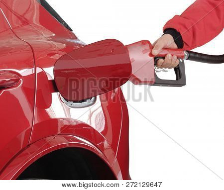 Gasoline pistol pump gun fuel nozzle and car on gas station