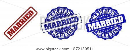 Married Grunge Stamp Seals In Red And Blue Colors. Vector Married Imprints With Grunge Texture. Grap