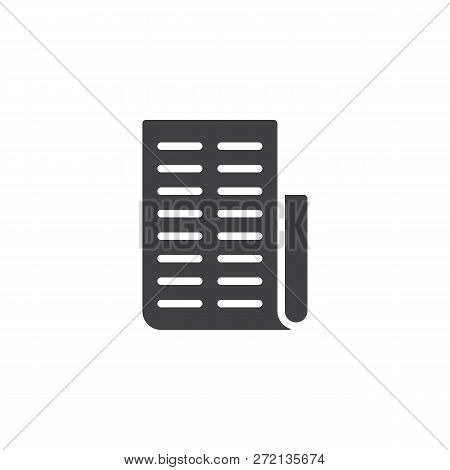 Invoice Paper Vector Icon. Filled Flat Sign For Mobile Concept And Web Design. Purchase Cheque List