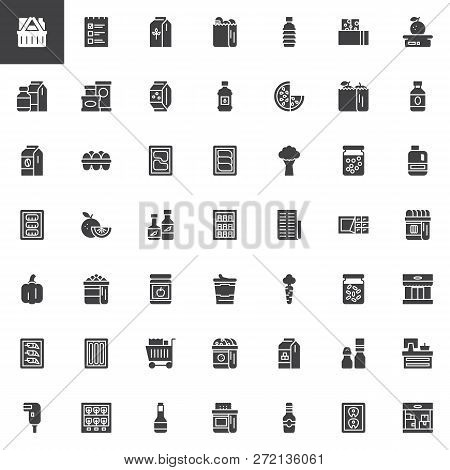 Grocery Vector Icons Set, Modern Solid Symbol Collection, Filled Style Pictogram Pack. Signs, Logo I