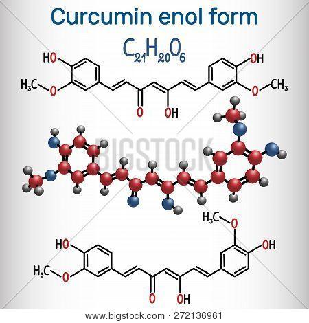 Curcumin Molecule. Enol Form. It Is Used As An Herbal Supplement, Cosmetics Ingredient, Food Flavori
