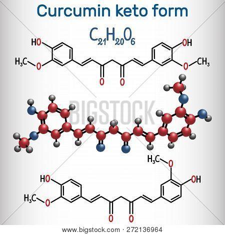 Curcumin Molecule. Keto Form. It Is Used As An Herbal Supplement, Cosmetics Ingredient, Food Flavori