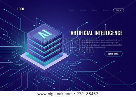 Artificial Intelligence Icon Ai, Isometric Cloud Computing Concept, Data Mining, Isometric, Neural N