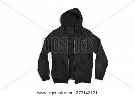 Black Hoodie Isolated On White Background. Front View Of Men's Zippered Pullover Hoodies. Zip Up Fle