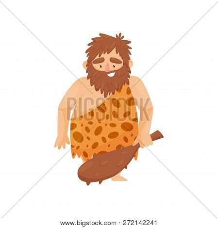 Funny Stone Age Bearded Man With Cudgel, Primitive Cavemen Cartoon Character Vector Illustration On