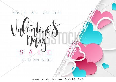 Vector Illustration Of Valentines Day Greetings Card Template With Hand Lettering Label - Happy Vale