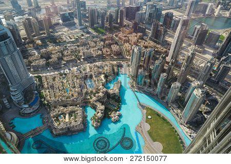 Dubai panorama from tall building