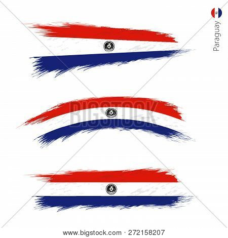 Set Of 3 Grunge Textured Flag Of Paraguay, Three Versions Of National Country Flag In Brush Strokes