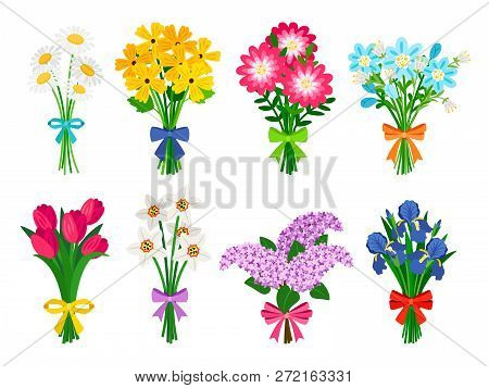 Fresh Flowers Bouquets. Summer Bouquet Set Isolated, Woman Flowers Gift, Tulips And Daisies, Lilacs